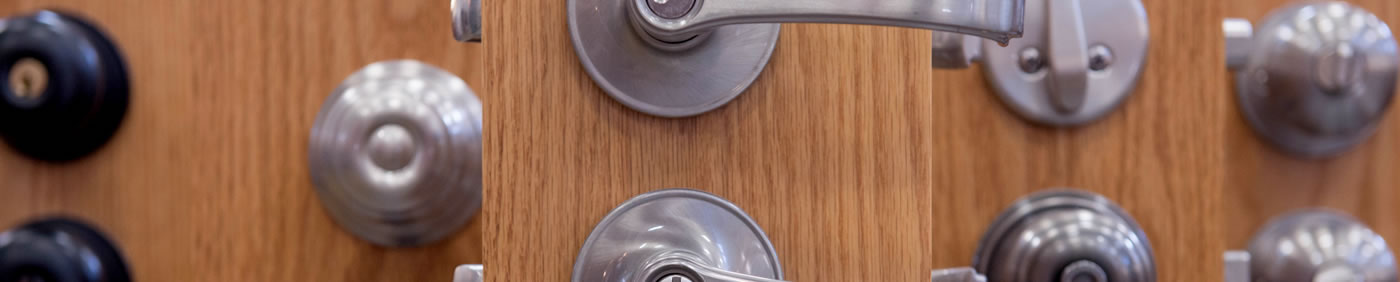 Door knobs for sale at Mid-City Lumber