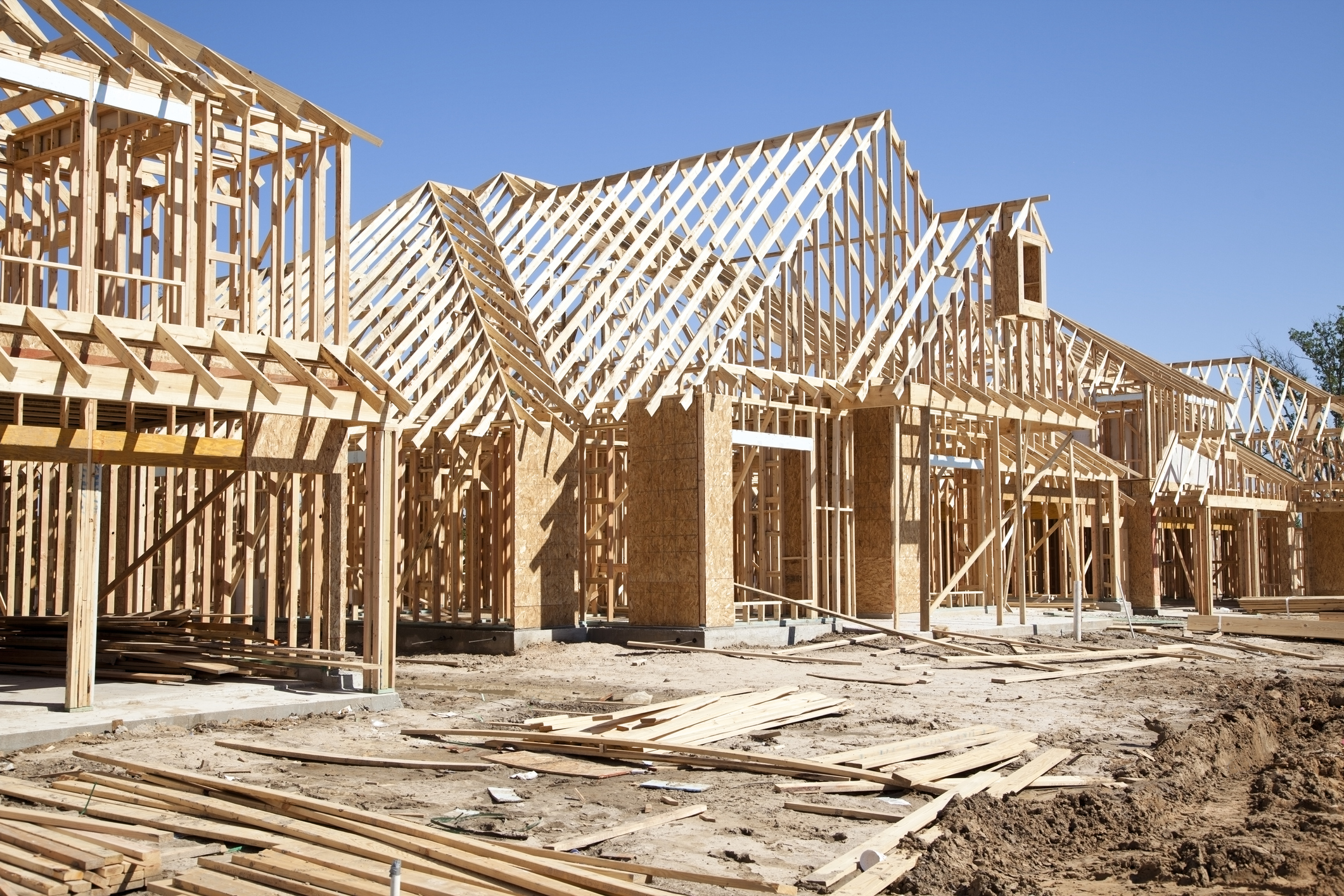 Framing of new homes under construction