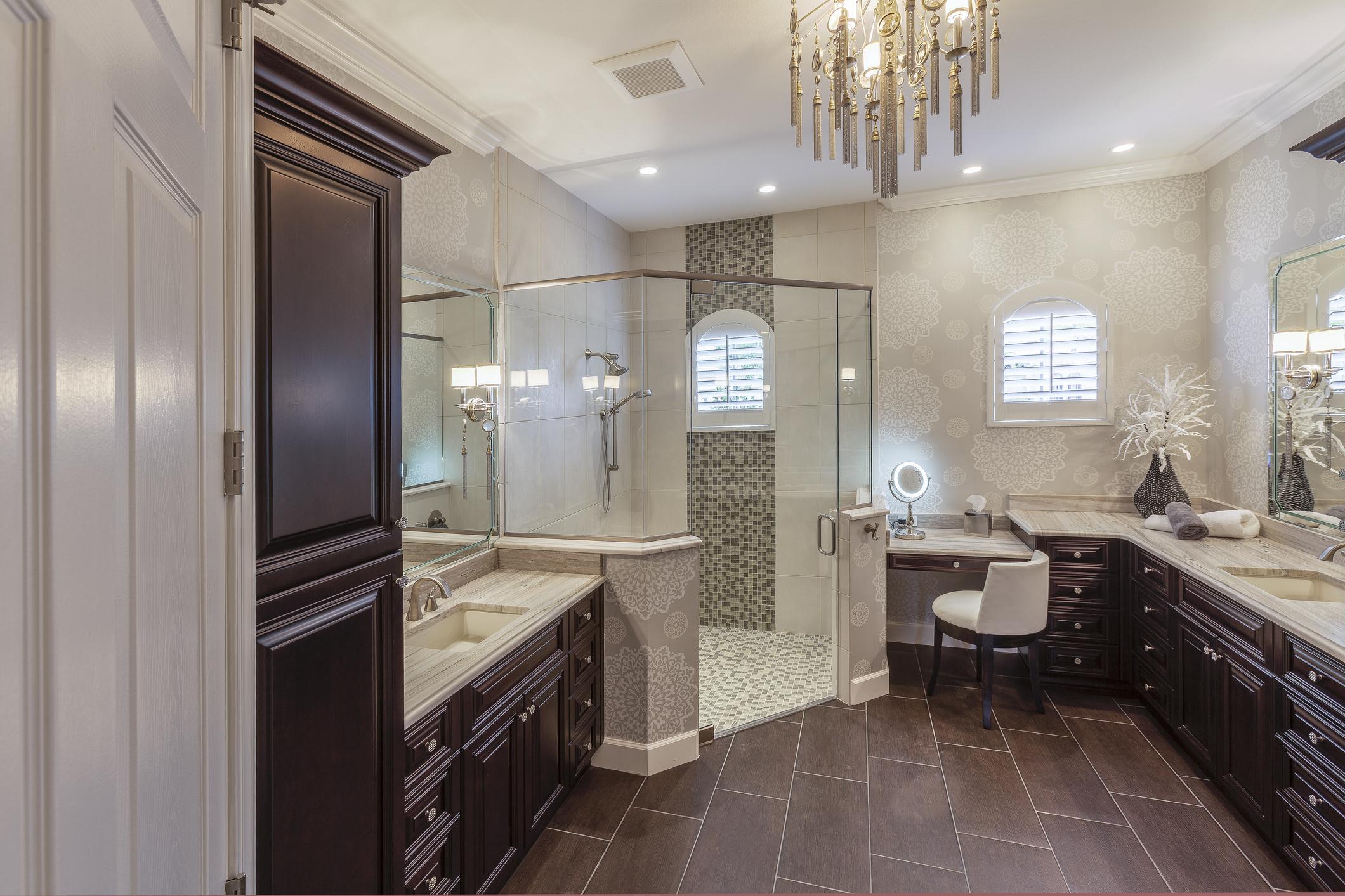 Luxury master bathroom with chandelier